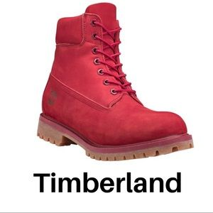 TIMBERLAND Red 6 inch premium lace up boots